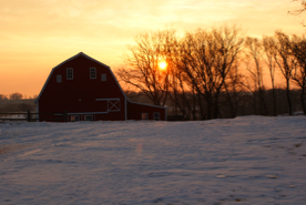 Winter sunrise over the barn