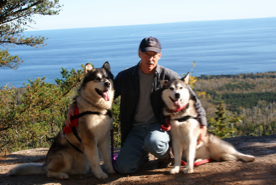 Tim with Howler and Minnie, overlooking Lake Superior, 2009